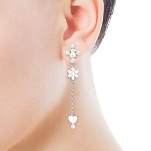 Tous Long Real Silver Sissy Earrings with Pearls.